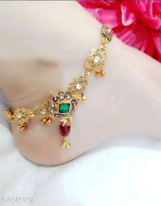 Anklets: Free COD, for booking & enquiry Material variable . Gold Anklet, Anklets, New Jewellery Design, Ankle Jewelry, Silver Toe Rings, Brass Chain, Ring Necklace, Necklace Designs, Indian Jewelry