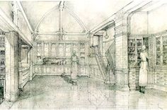 Sketches of the kitchen the house in the movie Practical Magic.