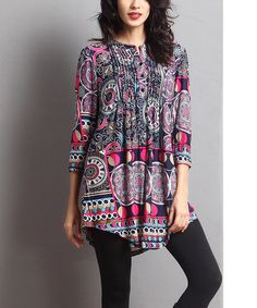 Loving this Purple & Blue Abstract Notch Neck Tunic on #zulily! #zulilyfinds