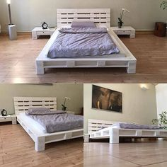 Creative Use for Wood Pallet Projects Pallet bed ideas Wooden Pallet Beds, Diy Pallet Bed, Pallet Ideas Easy, Wooden Pallet Projects, Pallet Crafts, Diy Pallet Furniture, Home Furniture, Wood Beds, Furniture Projects