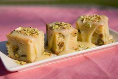 White Chocolate Mascarpone Pistachio Brownies with Cardamom-White Chocolate Sauce