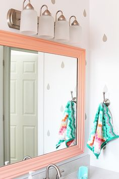 89 teal and coral bathroom decor ideas – Creative Maxx Ideas - Modern Coral Bathroom Decor, Bathroom Colors, Bathroom Accessories, Childrens Bathroom, Bathroom Kids, Master Bathroom, Bathroom Mirrors, Simple Bathroom, Bathroom Renovations