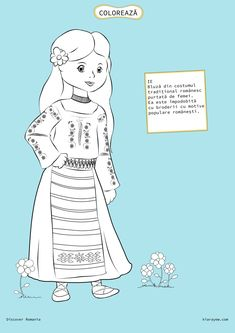 Here's Romania for kids by coloring! You will find all sorts of coloring pages suitable for kindergarten and elementary school kids. Coloring Pages For Girls, Coloring For Kids, 1 Decembrie, Romanian Girls, Spring Crafts For Kids, World Cultures, Girl Scouts, Folk, Costumes