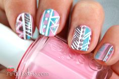 TRIBAL NAIL ART // uñas decoradas con motivos tribales https://www.facebook.com/Nailistas