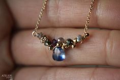 ATELIER Gaby Marcos - Gem Vine Cluster Delicate Necklace. Kyanite, Pyrite, Labradorite, Iolite, Goldfilled. @ateliergabymarcos