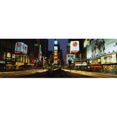 Shopping malls in a city Times Square Manhattan New York City New York State USA Canvas Art - Panoramic Images (18 x 6)