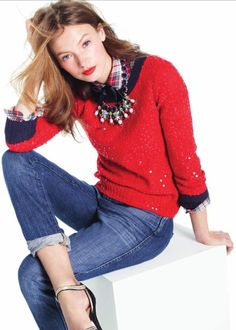 J. Crew Scattered Sequins Sweater and Floral Necklace