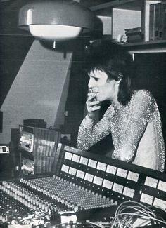 David Bowie in the studio.