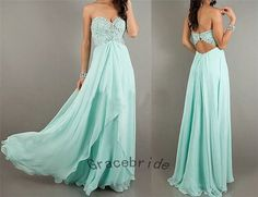 light mint blue chiffon dresses aline prom dresses by Gracebride, $149.00