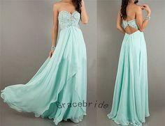 light mint blue chiffon dresses aline prom dresses by Gracebride, $149.00