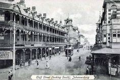 Long considered the main street of Johannesburg. Eloff Street, viewed from the station's side in a southerly direction. Circa 1900 (With acknowledgement to Friedel Hansen) Kruger National Park, National Parks, Apartheid Museum, Johannesburg City, Old Postcards, African History, Vintage Photographs, Main Street, Old Photos