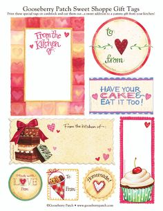 Gooseberry Patch's Sweet Shoppe Collection of tags, recipe cards, and treat toppers