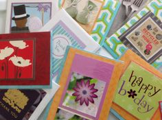 Paper Craft Scrap Book Card Set - Upcycled Note Cards - Set of Five