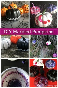 Learn how to create marbled pumpkins with nail polish. Nail polish is all that's needed to make your unique Halloween marbled pumpkins. Halloween Crafts For Kids, Holidays Halloween, Crafts To Do, Halloween Pumpkins, Halloween Fun, Teen Crafts, Halloween Celebration, Halloween Costumes, Diy Crafts