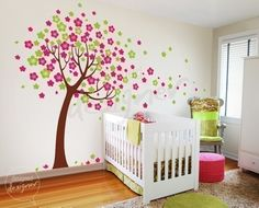vinyl tree decal for a baby girl's nursery / bedroom. love the green & pink