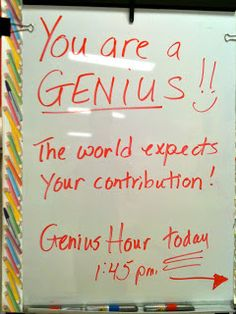 For several weeks the topic of conversation in our classroom surrounded our trial of Genius Hour . Students were excited about being g. Inquiry Based Learning, Project Based Learning, Deep Learning, Learning Process, Early Learning, 4th Grade Classroom, Classroom Ideas, Apple Classroom, Superhero Classroom