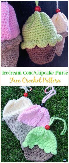 Ice-cream Cone/Cupcake Purse Free Crochet Pattern -#Crochet Drawstring #Bags Free Patterns