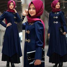 Pinar Sems Blue Coat love blue Price 85 Dolars #modaufku #modaufkuhijab #tesettür #hijab #hijabfashion #islamic #hijabi #hijaber #dress #abaya #elbise #abiye #pudra #annahar #pınarsems #gamzepolat