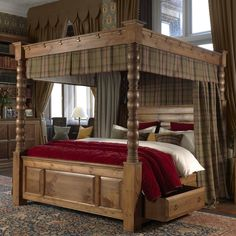 Explore the best Fabulous Canopy four poster Bed Design Ideas at Live Enhanced. Visit for more images and take ideas about Canopy's four-poster Bed Design. 4 Poster Bed Canopy, Canopy Bed Drapes, Wood Canopy Bed, Canopy Bedroom, Four Poster Bed, Wood Beds, Ikea Canopy, Hotel Canopy, Arquitetura