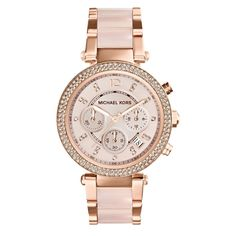 Michael Kors Women's 'Parker' Rose Goldtone Chronograph Watch - PInk, Size One Size Fits All