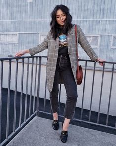 How to dress down a long blazer: Layer it over a graphic tee and cropped denim! Wearing MONKI Long Check Blazer, John Galt San Francisco Graphic Tee, Levi's Wedgie Cut Jeans, Gucci Loafers, APC Demi Lune Bag, Warby Parker Nesbit Glasses. #casualoutfit #outfitidea #howto