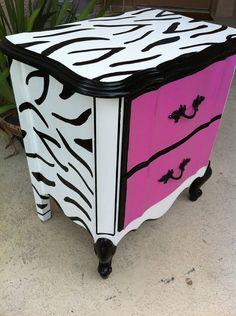 Hot Pink and Black and White zebra print nightstand
