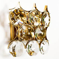 Pair of Palwa Sconces Wall Lights Gilded Brass Large Crystals 3