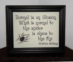 Morticia Addams quote Chaos Wallhanging Framed by JustForGiggles, $30.00…