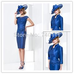 2014 New Arrival Mother Of The Bride Dresses With Jacket 3/4 Sleeve Short Dress Groom Wedding Occasion Formal Dresses For Women US $128.99