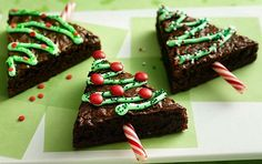 cut brownies into triangles, decorate like a christmas tree, then use a peppermint stick as a tree trunk