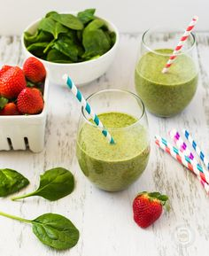 Strawberry Kale and Spinach Detox Smoothie made with Greek Yogurt