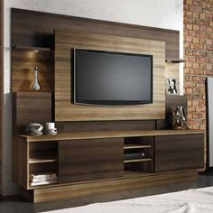 Estante Home para TV até 55 Polegadas Aron Linea Brasil Capuccino Wood / Ébano - Móveis para Sala de Estar - Magazine Luiza Tv Stand New Design, Tv Stand Designs, Built In Wall Units, Modern Tv Wall Units, Wall Unit Designs, Living Room Tv Unit Designs, Tv Unit Decor, Tv Wall Decor, Wall Tv
