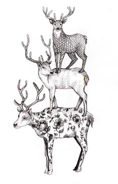 A pile of stags | illustration by Textile Artist Linn Warme