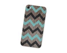 Iphone 4s Skin: Wood Chevron Cell Phone Iphone Skin 4 - Iphone 4 - Brown Black and Turquoise Woodgrain Tribal Geometric Boho Southwestern.