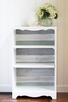 Bookcase Makeover Using Old Fence Pickets For The Backing. Now Itu0027s A  Coastal Cutie! Confessions Of A Serial Do It Yourselfer