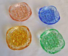 4 Vintage Bohemia Glass Bridge Ashtrays Pin by TreasureCoveAlly