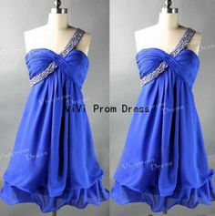 one shoulder short prom dress with beadings ,chiffon prom dress,sweetheart prom dress, custom made evening dresses, party dresses