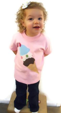 I Scream, You Scream, We all Scream for Ice Cream Applique Short Sleeve T- Shirt