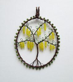 Laburnum wire wrapped and beaded tree pendant por LouiseGoodchild, £28.00