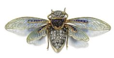 Cicada, an 1890s diamond, sapphire and cabochon cat's eye crysoberyl brooch by Boucheron, with wings in plique-a-jour enamel and caliibre.