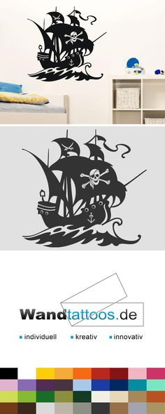 Wandtattoo Piratenschiff als Idee zur individuellen Wandgestaltung. Einfach Lieblingsfarbe und Größe auswählen. Weitere kreative Anregungen von Wandtattoos.de hier entdecken!