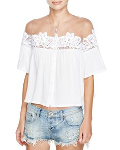 For Love & Lemons Carmine Off-The-Shoulder Embroidered Lace Top