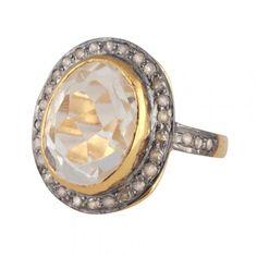Ringe GLORY WHITE - feminin diamantring med smuk hvid topas ædelsten og diamanter