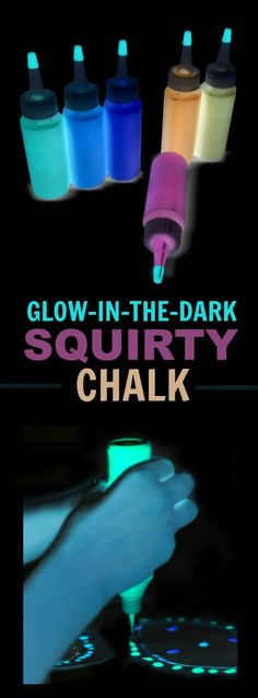 GLOW-IN-THE-DARK SQUIRTY CHALK FOR KIDS- epic Summer fun!!!