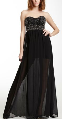 Wow Couture Bead Embellished Bodice Dress