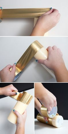 DIY | metallic Duck Tape candles