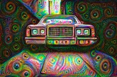 Car photo processed with the Google Deep Dream algorithm and carefully enhanced (including a complete digital repainting). Colorful, psychedelic and surreal image that shows what happens when machines are dreaming deep... :-) Available as poster, framed fine art print, metal, acrylic or canvas print. (c) Matthias Hauser hauserfoto.com