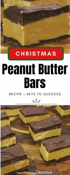 This classic recipe for Reese's Peanut Butter Bars is a delicious treat made without graham cracker crumbs. The peanut butter filling can be shaped into peanut butter balls or peanut butter eggs before dipping into melted chocolate. | Reeses peanut butter bars | Homemade Reeses | Chocolate Peanut butter | Christmas Candy | Christmas Peanut Butter Bars | #Peanutbutter #Chocolate #Reeses #Desserts Reese's Peanut Butter Bars, Peanut Butter Brands, Peanut Butter Cup Cookies, Butter Chocolate Chip Cookies, Chocolate Meringue Pie, Reese's Chocolate, Chocolate Pie Recipes, Melted Chocolate, Easy Christmas Candy Recipes