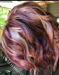 21 Chocolate Brown and Lilac Hair Looks - Hair - Hair Color Cabelo Rose Gold, Bob Hair Color, Hair Color And Cuts, Hair Color 2017, Great Hair, Ombre Hair, Wavy Hair, Hair Looks, Dyed Hair