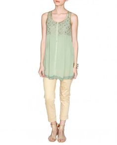 Pistachio Green Tunic with Golden Embellishments